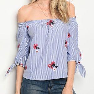 Blue stripes off the shoulder blouse